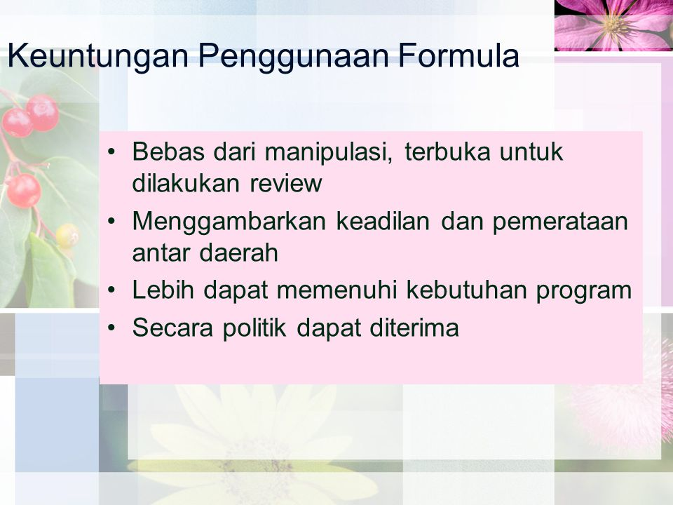 Keuntungan Penggunaan Formula