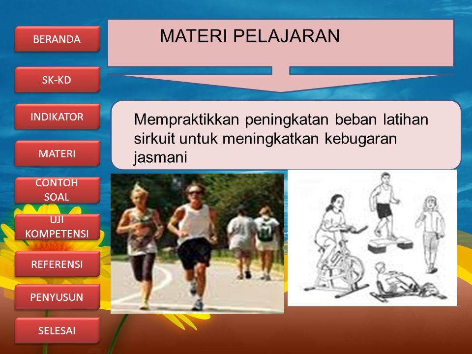 MATERI PELAJARAN BERANDA. SK-KD. INDIKATOR. Mempraktikkan peningkatan beban latihan sirkuit untuk meningkatkan kebugaran jasmani.