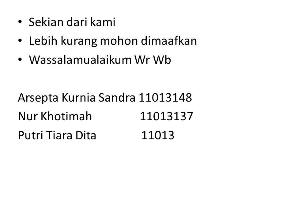 Sekian dari kami Lebih kurang mohon dimaafkan. Wassalamualaikum Wr Wb. Arsepta Kurnia Sandra 11013148.