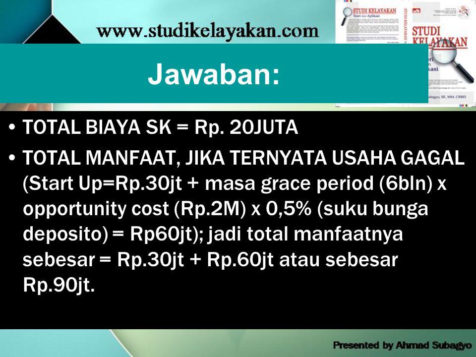 Jawaban: TOTAL BIAYA SK = Rp. 20JUTA