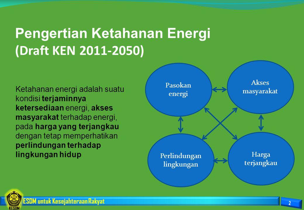 Pengertian Ketahanan Energi (Draft KEN 2011-2050)