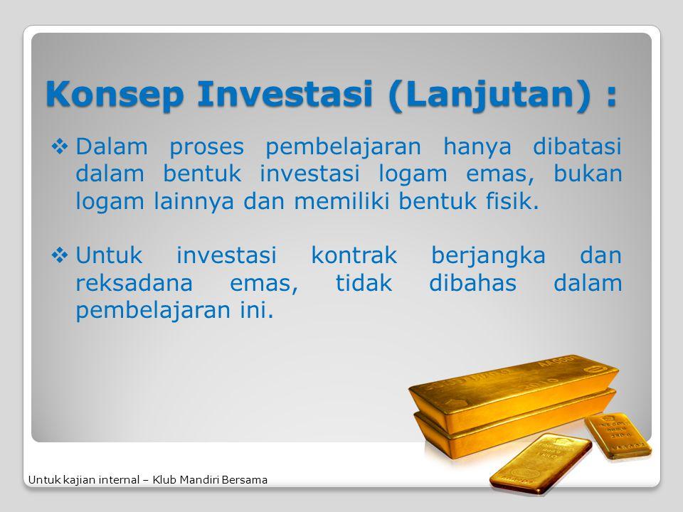 Konsep Investasi (Lanjutan) :