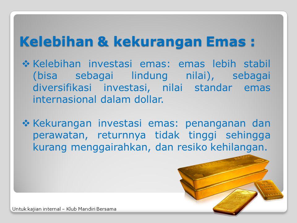 Kelebihan & kekurangan Emas :