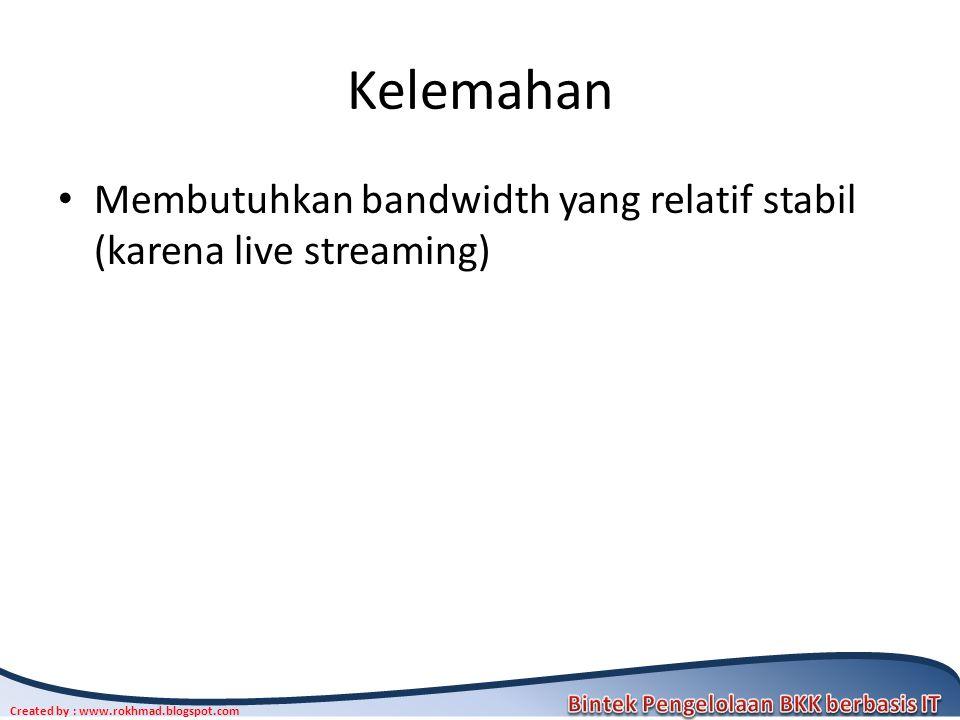 Kelemahan Membutuhkan bandwidth yang relatif stabil (karena live streaming)
