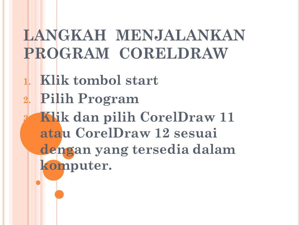 LANGKAH MENJALANKAN PROGRAM CORELDRAW