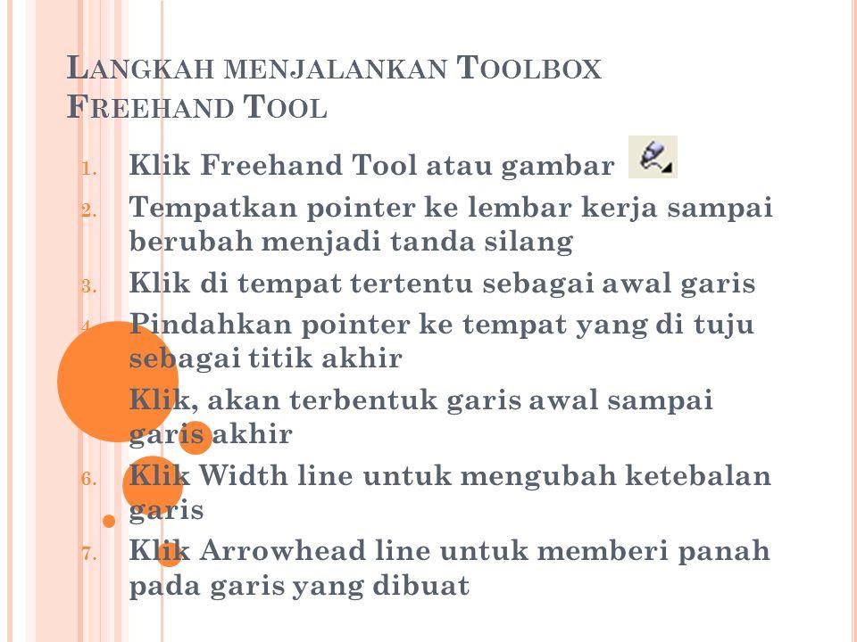 Langkah menjalankan Toolbox Freehand Tool