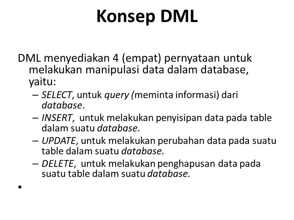 Konsep DML DML menyediakan 4 (empat) pernyataan untuk melakukan manipulasi data dalam database, yaitu: