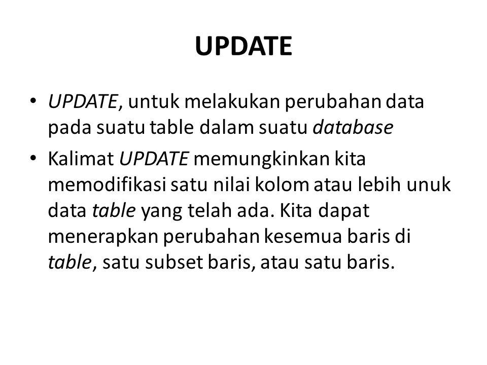 UPDATE UPDATE, untuk melakukan perubahan data pada suatu table dalam suatu database.