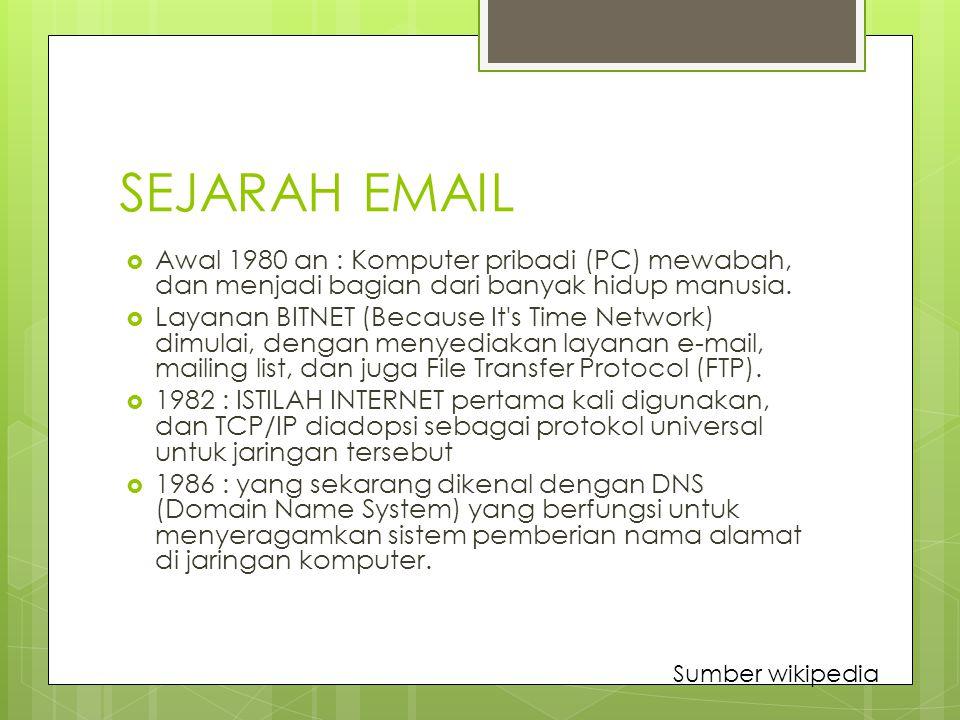 SEJARAH EMAIL Awal 1980 an : Komputer pribadi (PC) mewabah, dan menjadi bagian dari banyak hidup manusia.