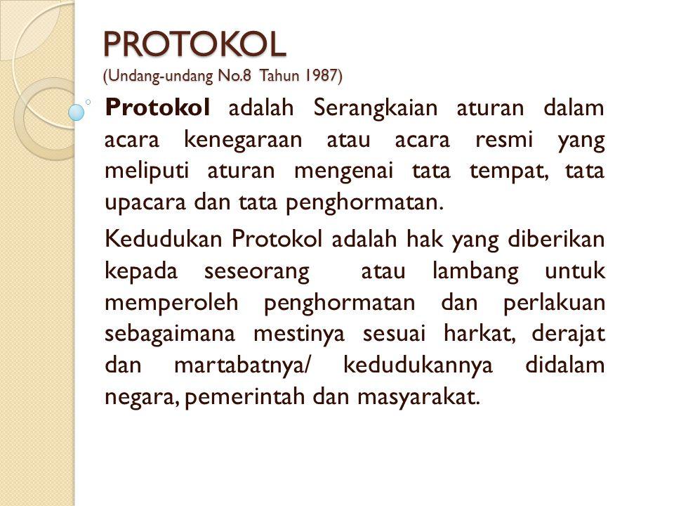 PROTOKOL (Undang-undang No.8 Tahun 1987)