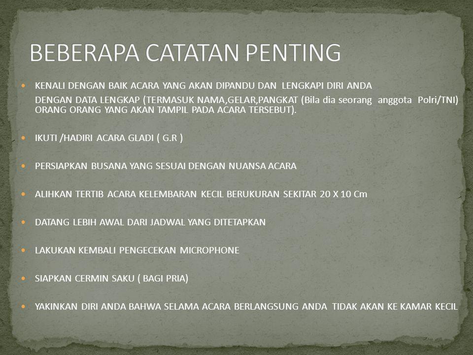 BEBERAPA CATATAN PENTING