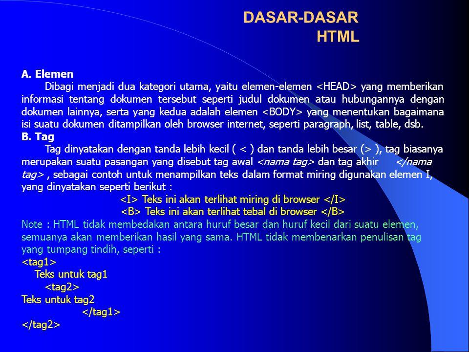 DASAR-DASAR HTML A. Elemen