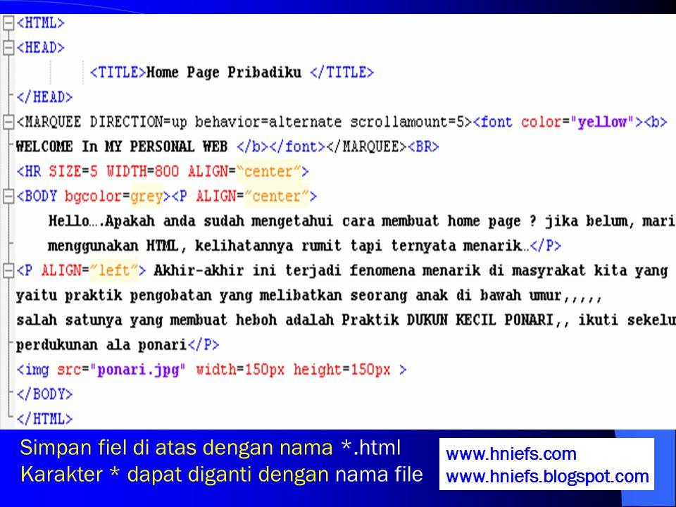 Simpan fiel di atas dengan nama *.html
