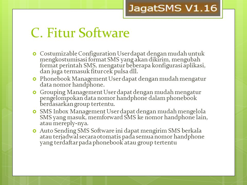 C. Fitur Software