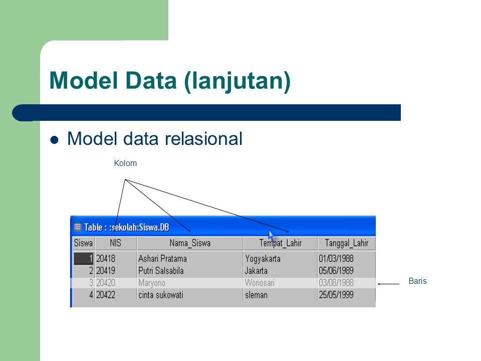 Model Data (lanjutan) Model data relasional Kolom Baris