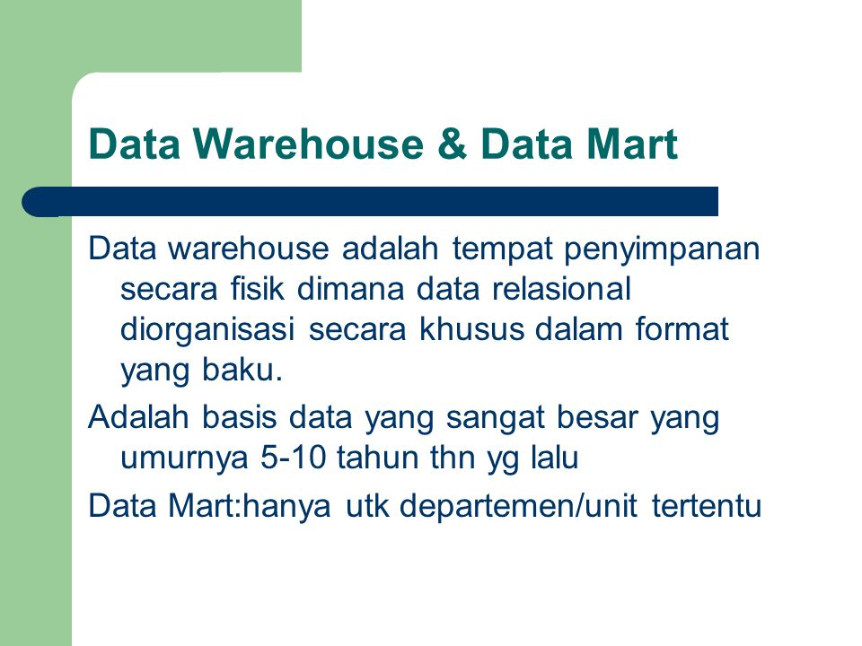 Data Warehouse & Data Mart
