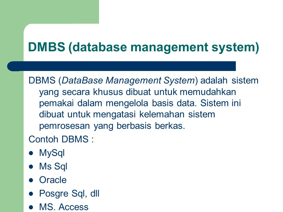 DMBS (database management system)