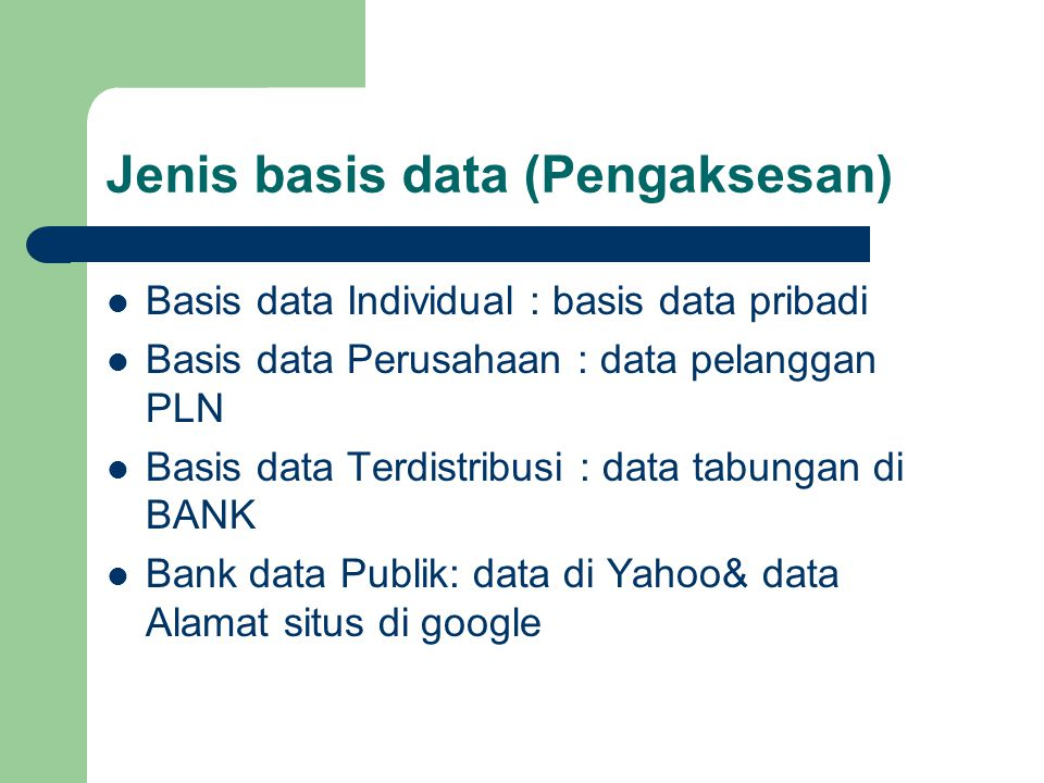 Jenis basis data (Pengaksesan)