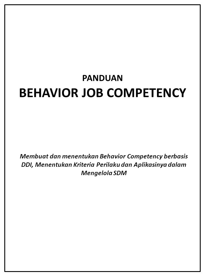 PANDUAN BEHAVIOR JOB COMPETENCY