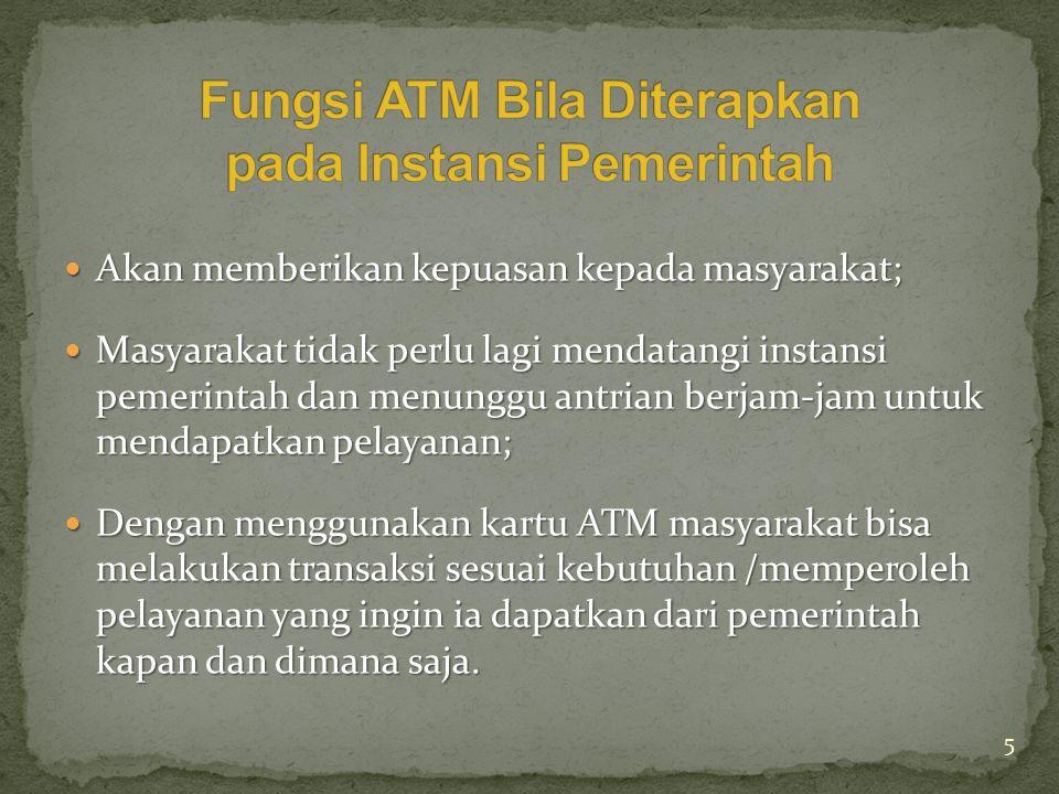 Fungsi ATM Bila Diterapkan pada Instansi Pemerintah