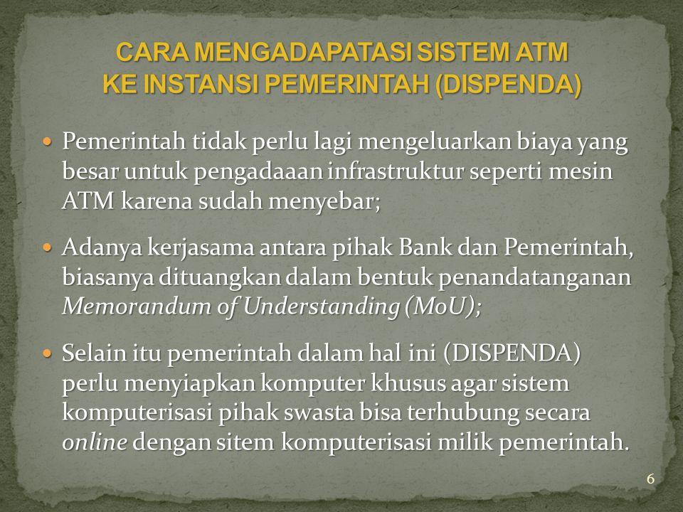 CARA MENGADAPATASI SISTEM ATM KE INSTANSI PEMERINTAH (DISPENDA)
