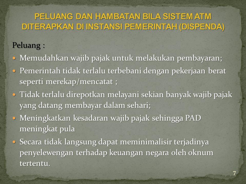 PELUANG DAN HAMBATAN BILA SISTEM ATM DITERAPKAN DI INSTANSI PEMERINTAH (DISPENDA)