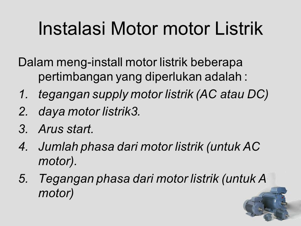 Instalasi Motor motor Listrik
