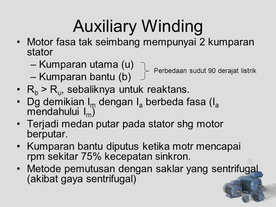 Auxiliary Winding Motor fasa tak seimbang mempunyai 2 kumparan stator