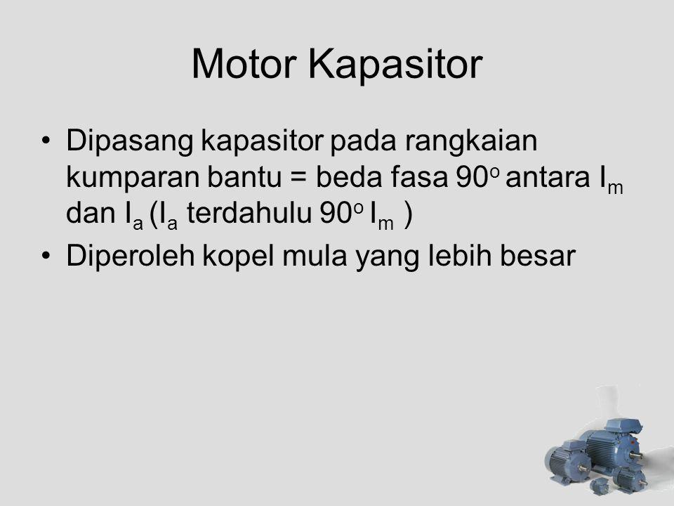 Motor Kapasitor Dipasang kapasitor pada rangkaian kumparan bantu = beda fasa 90o antara Im dan Ia (Ia terdahulu 90o Im )