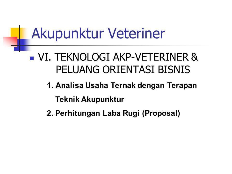 Akupunktur Veteriner VI. TEKNOLOGI AKP-VETERINER & PELUANG ORIENTASI BISNIS. Analisa Usaha Ternak dengan Terapan.