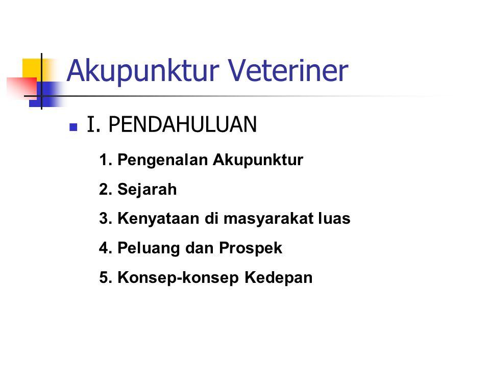 Akupunktur Veteriner I. PENDAHULUAN Pengenalan Akupunktur Sejarah