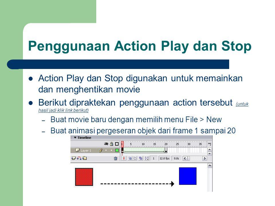 Penggunaan Action Play dan Stop