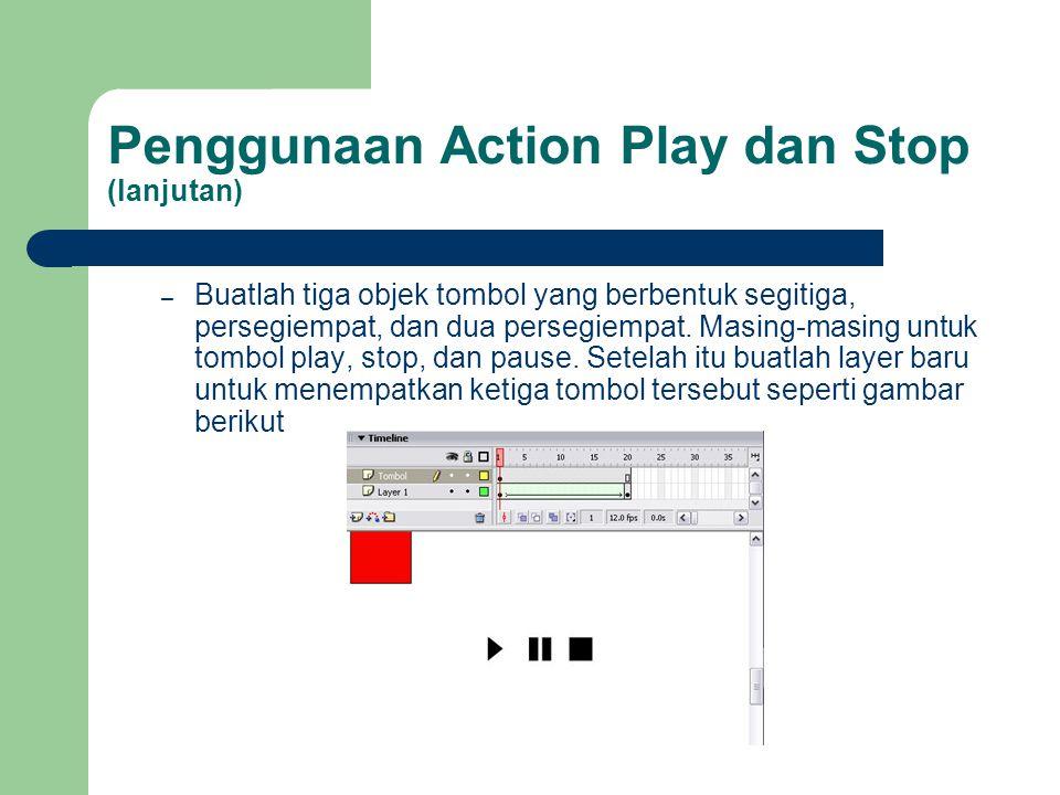 Penggunaan Action Play dan Stop (lanjutan)