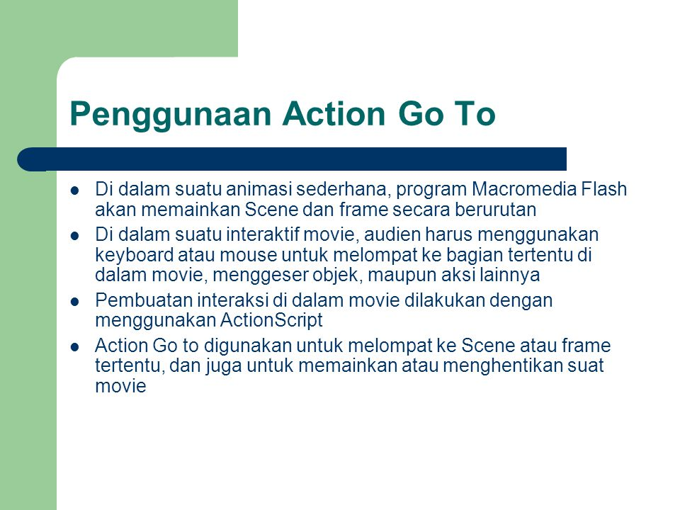 Penggunaan Action Go To