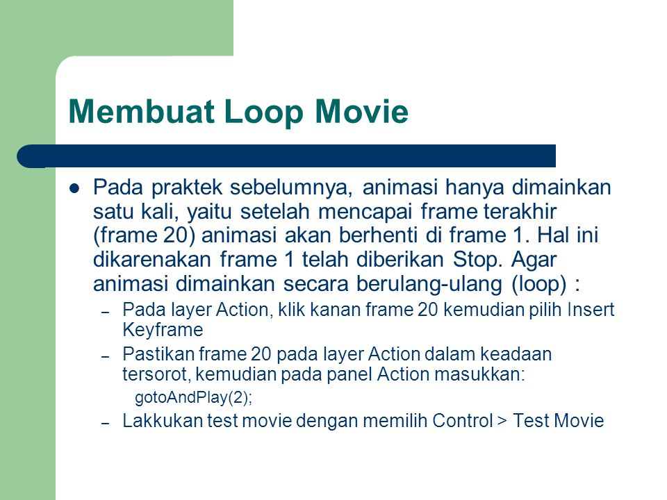 Membuat Loop Movie