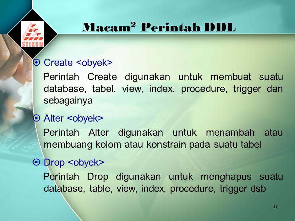 Macam2 Perintah DDL Create <obyek>