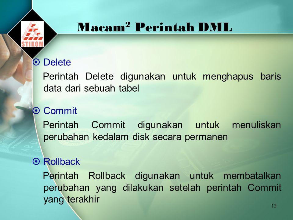 Macam2 Perintah DML Delete