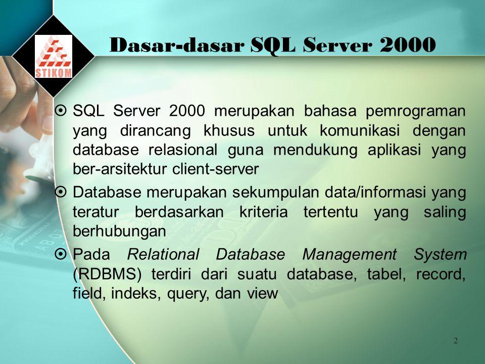 Dasar-dasar SQL Server 2000