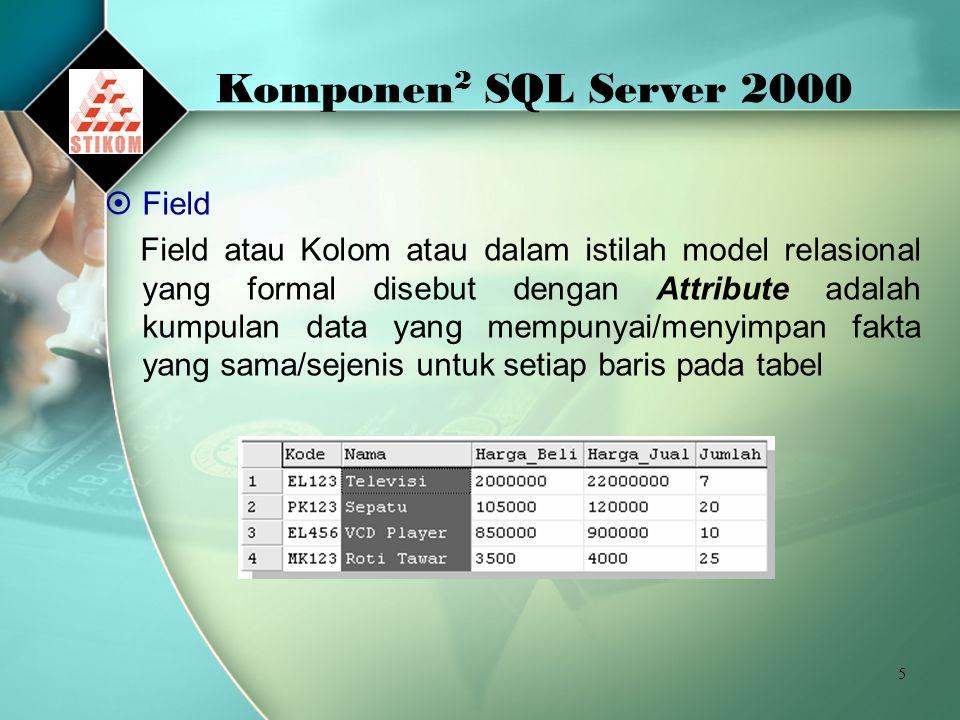 Komponen2 SQL Server 2000 Field