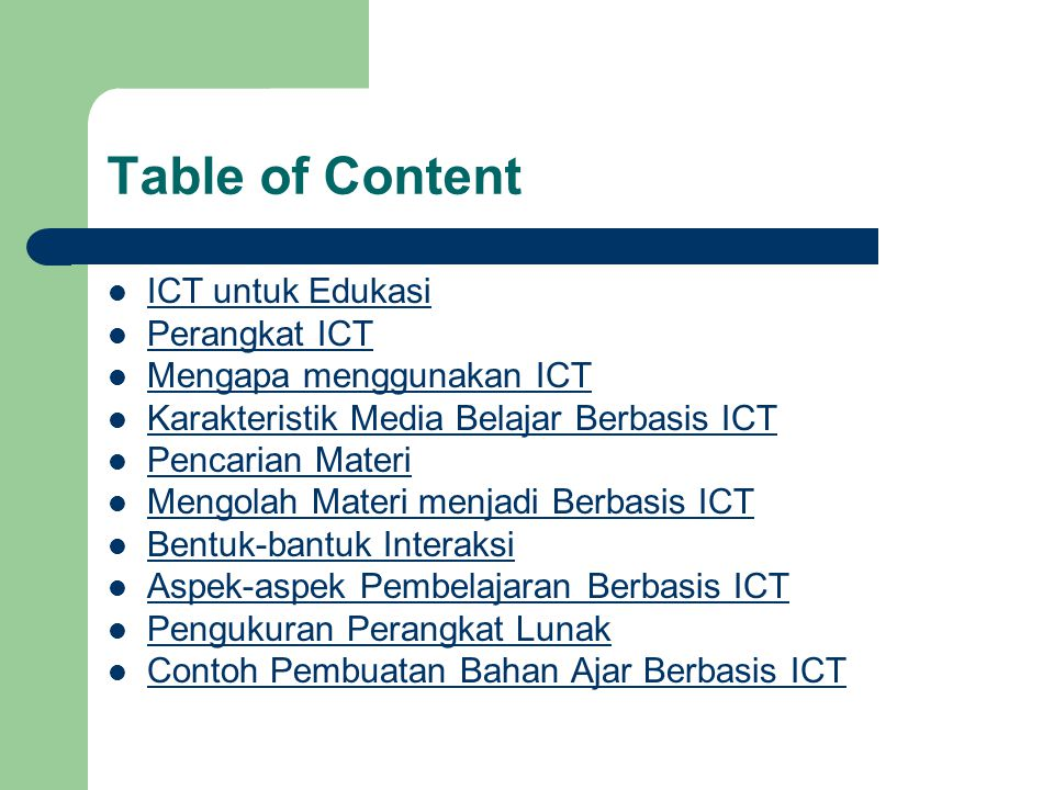 Table of Content ICT untuk Edukasi Perangkat ICT
