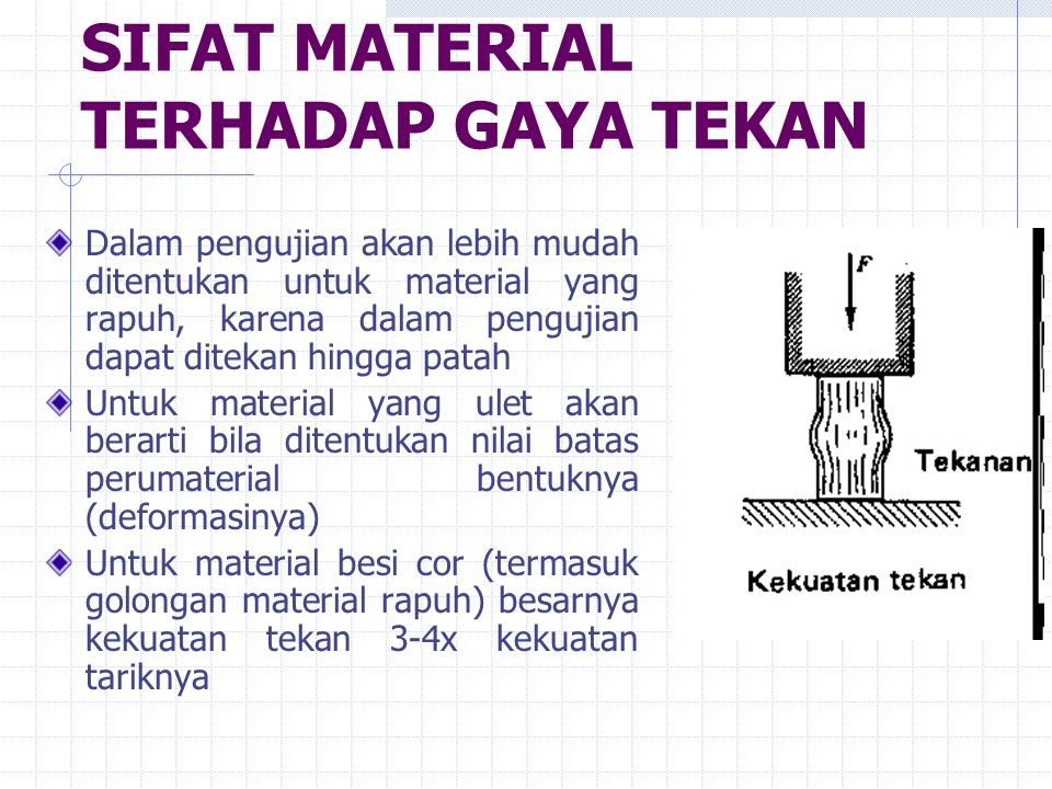 SIFAT MATERIAL TERHADAP GAYA TEKAN