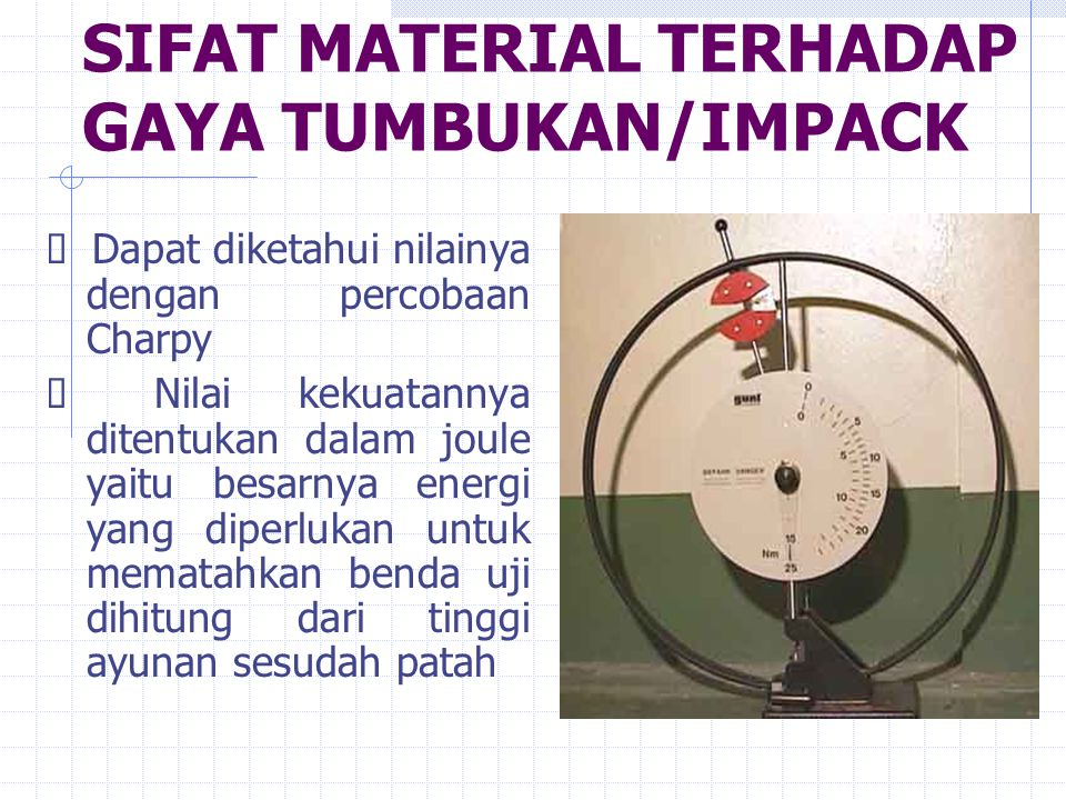 SIFAT MATERIAL TERHADAP GAYA TUMBUKAN/IMPACK