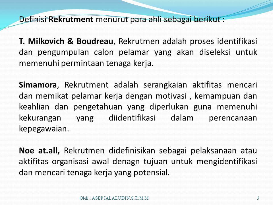 Definisi Rekrutment menurut para ahli sebagai berikut :