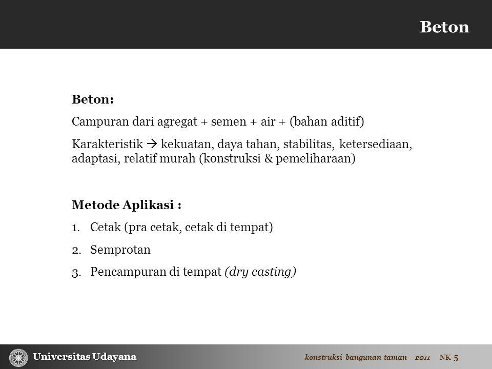 Beton Beton: Campuran dari agregat + semen + air + (bahan aditif)