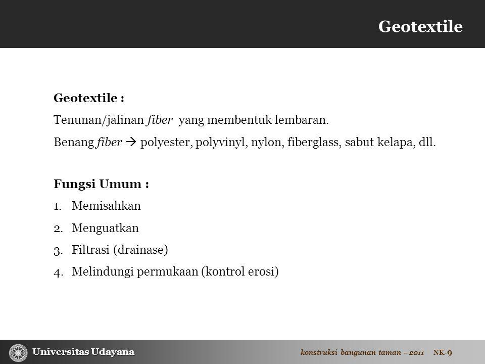 Geotextile Geotextile : Tenunan/jalinan fiber yang membentuk lembaran.