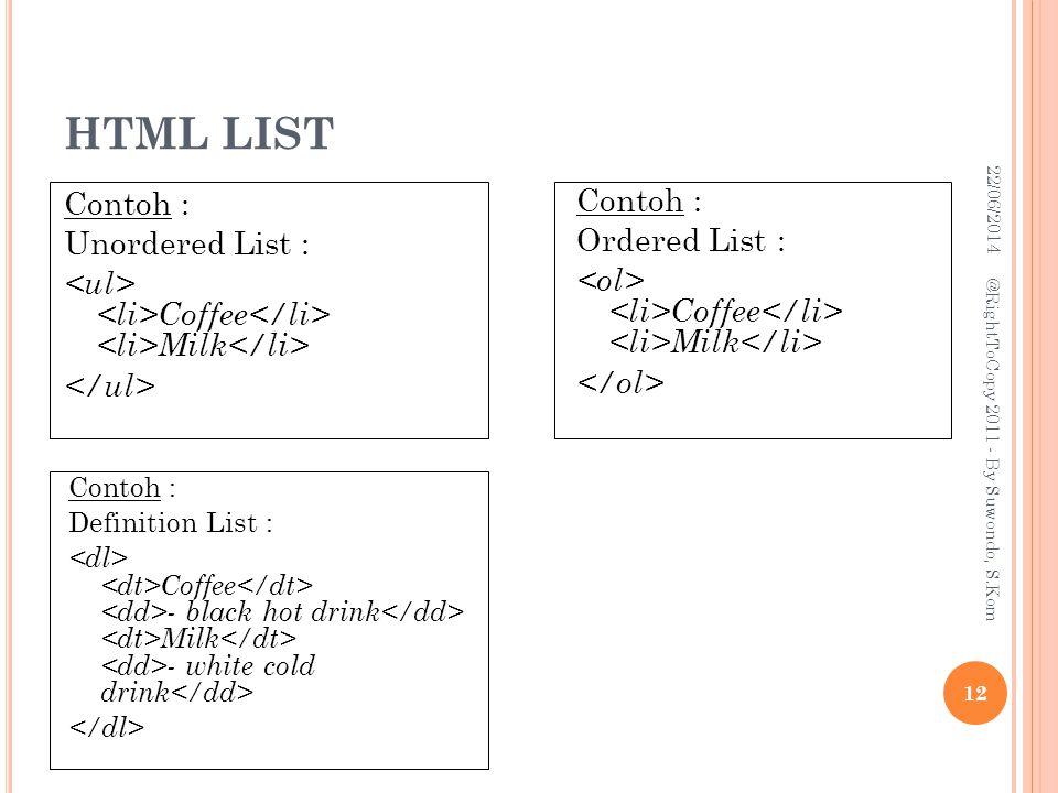 HTML LIST 03/04/2017. Contoh : Unordered List : <ul> <li>Coffee</li> <li>Milk</li> </ul> Contoh :