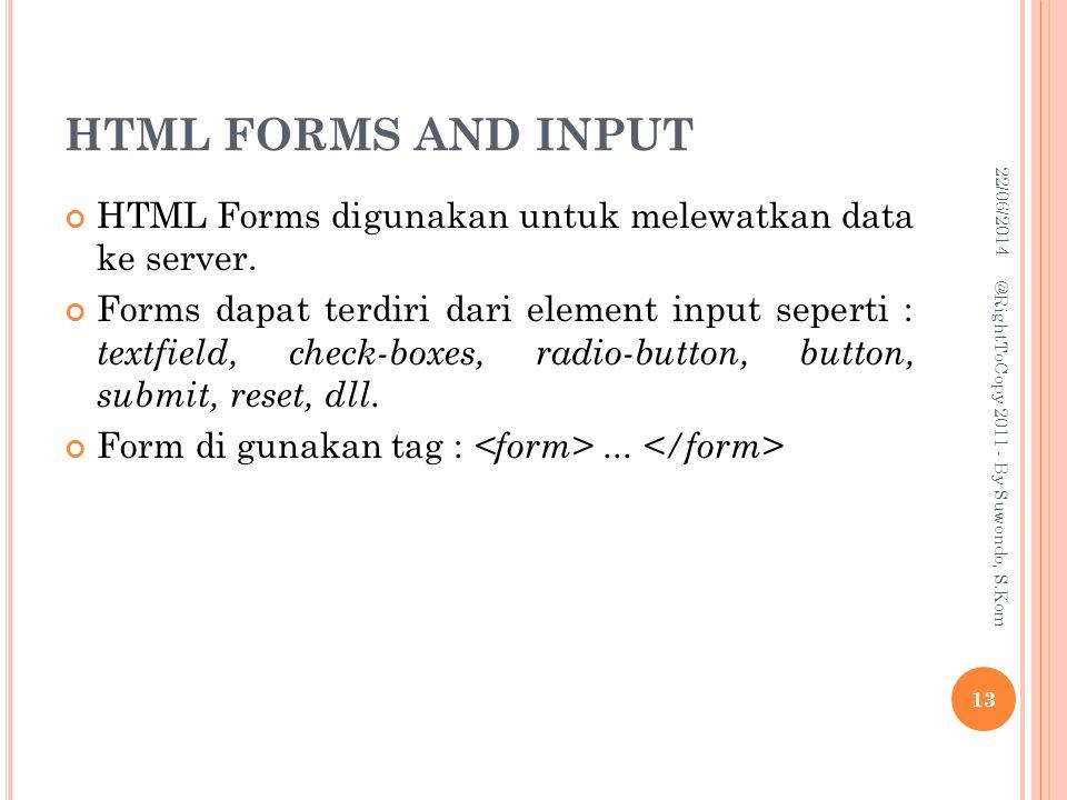 HTML FORMS AND INPUT 03/04/2017. HTML Forms digunakan untuk melewatkan data ke server.