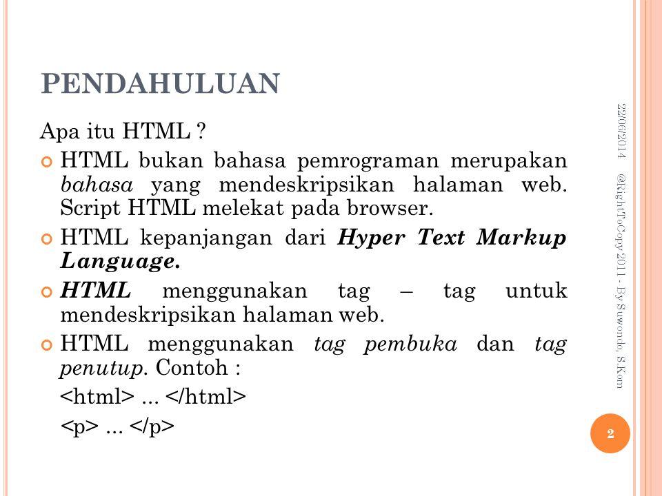 PENDAHULUAN Apa itu HTML