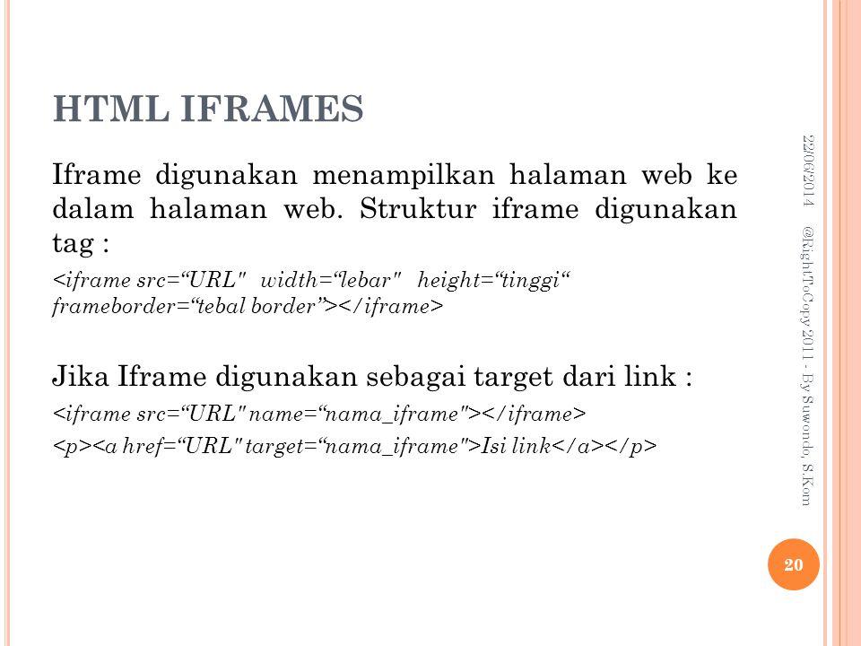 HTML IFRAMES 03/04/2017. Iframe digunakan menampilkan halaman web ke dalam halaman web. Struktur iframe digunakan tag :