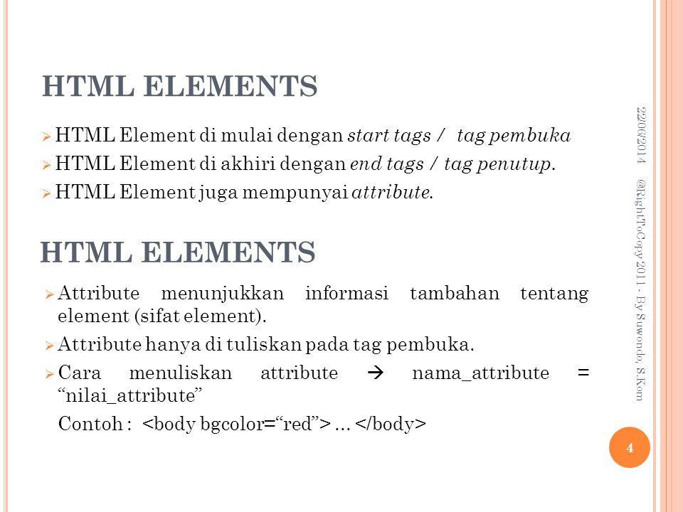 HTML ELEMENTS HTML ELEMENTS